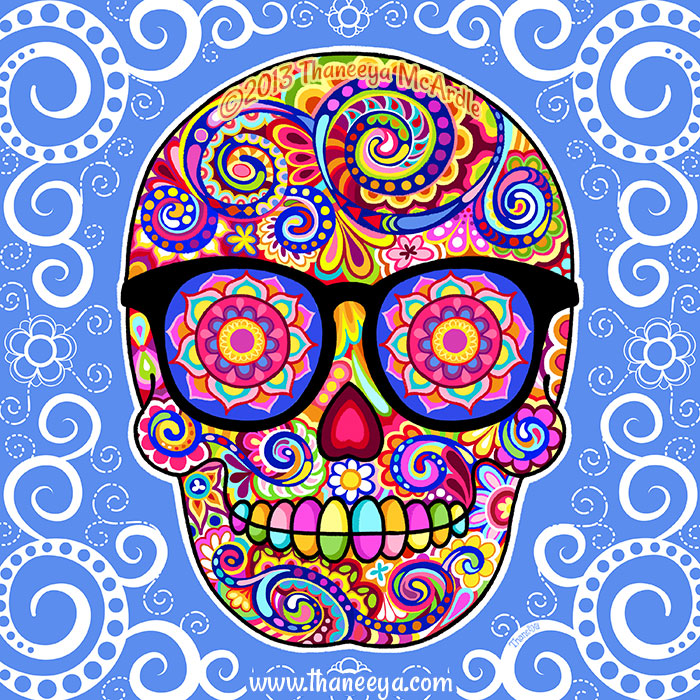 Hipster Sugar Skull with Glasses by Thaneeya