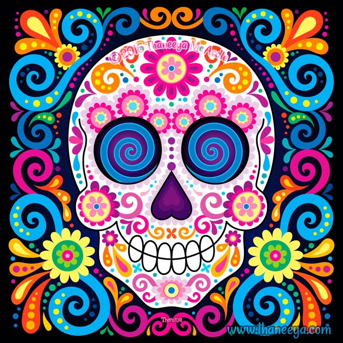 Midnight Rhapsody Sugar Skull Art by Thaneeya McArdle
