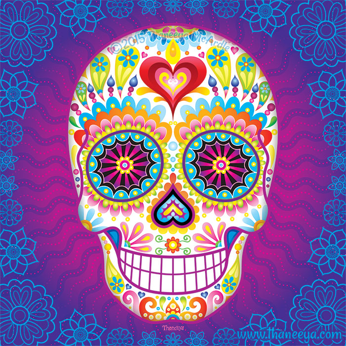 Psychedelic Sugar Skull Luminesce by Thaneeya