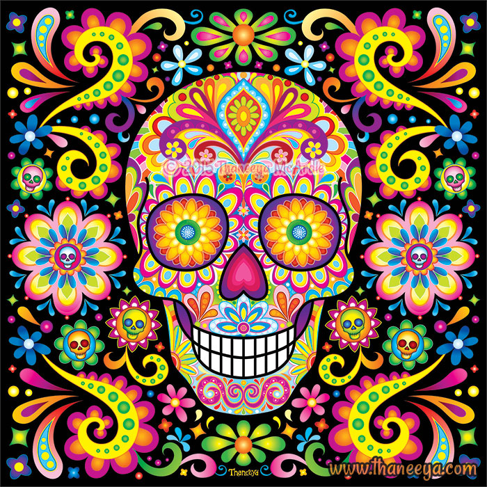 Vibrant Sugar Skull Spark by Thaneeya McArdle