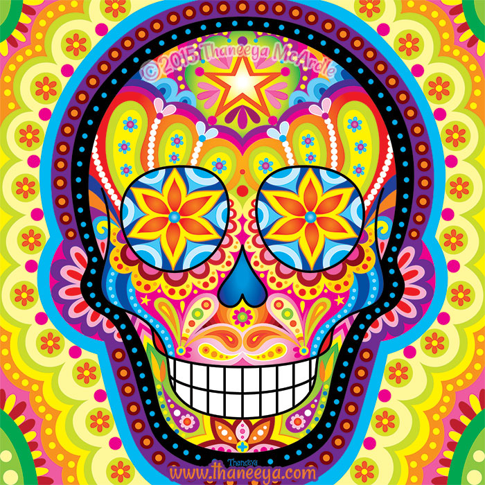 Colorful Day of the Dead Skull by Thaneeya