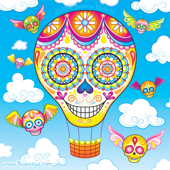 Hot Air Balloon Sugar Skulls by Thaneeya