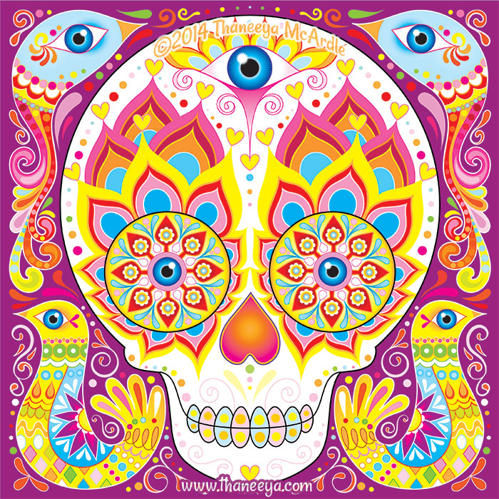 Sugar Skull with Birds by Thaneeya McArdle
