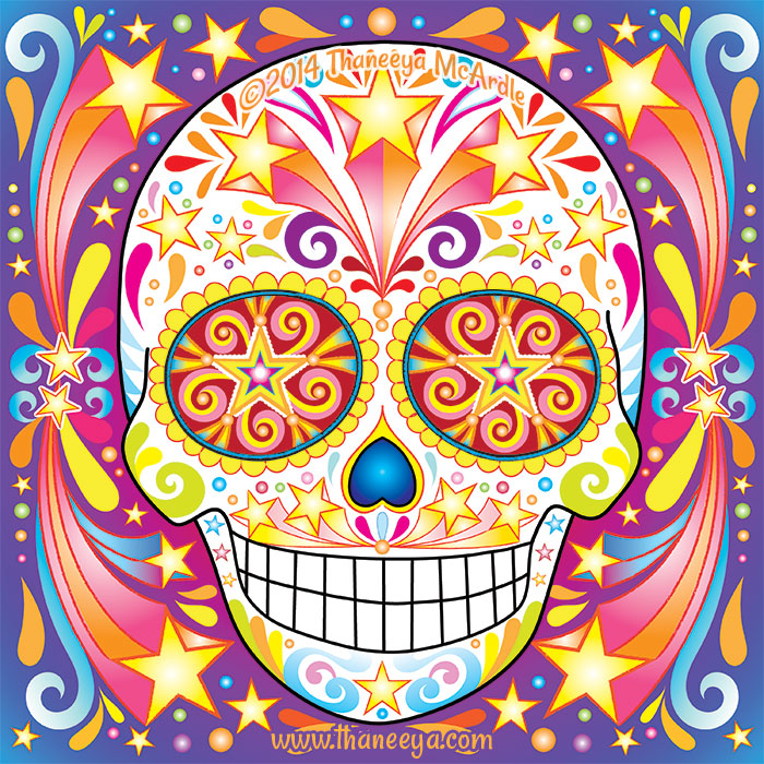 Shooting Stars Sugar Skull by Thaneeya