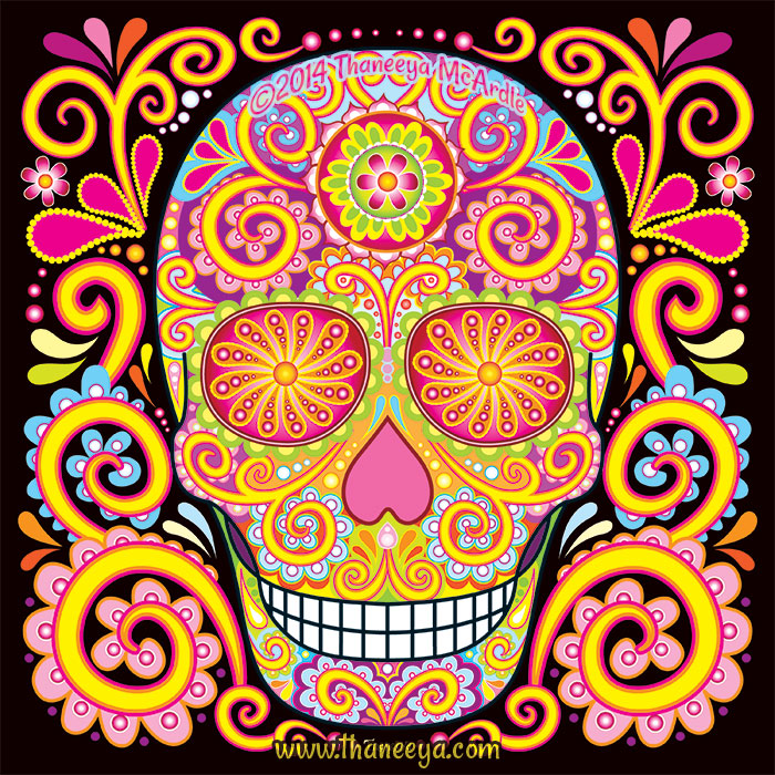 Colorful Psychedelic Sugar Skull by Thaneeya