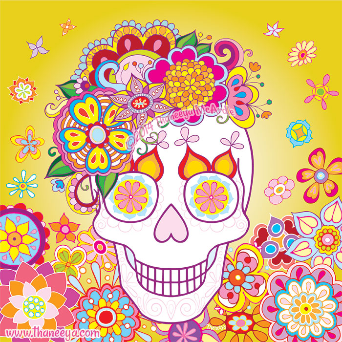 Sugar Skull with Flowers by Thaneeya