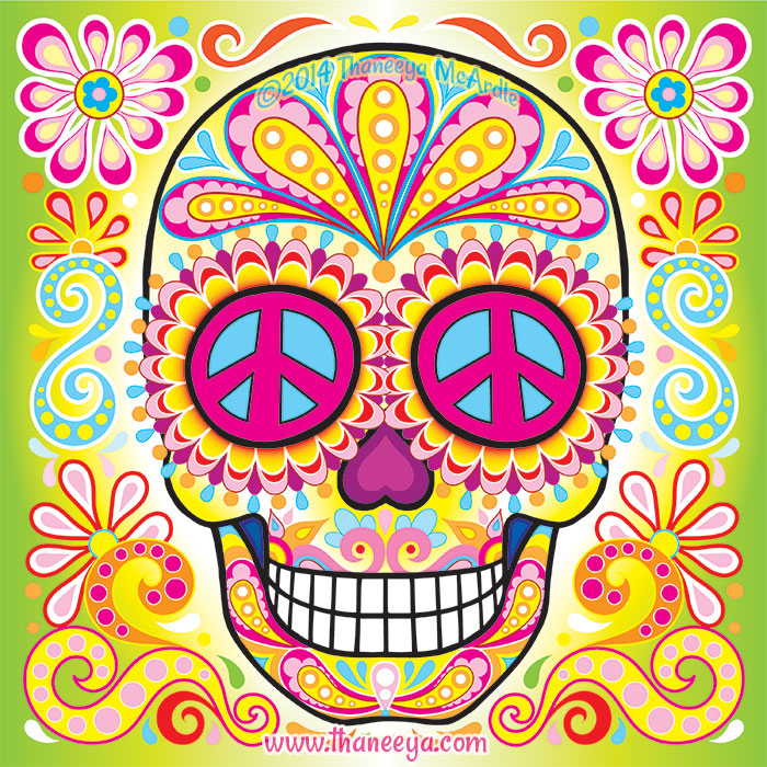 Peace Sign Sugar Skull by Thaneeya McArdle
