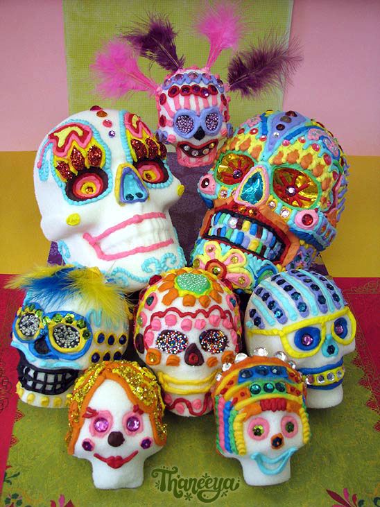A collection of real sugar skulls i made with sugar, meringue powder, water and royal icing!   Click here to learn how to make your own sugar skulls!