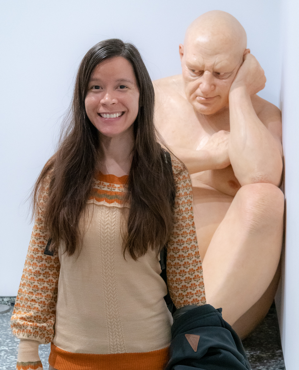 Ron Mueck's  Untitled (Big Man)  sculpture at the hirshhorn, Washington, DC.