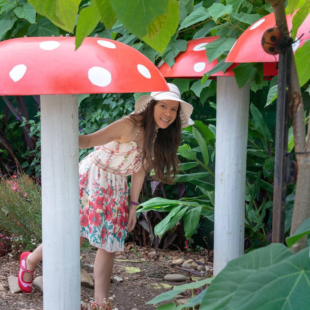 Artist Thaneeya McArdle at the Flower Fairy Garden in the Blue Lotus Water Garden in Yarra Valley, Victoria, Australia
