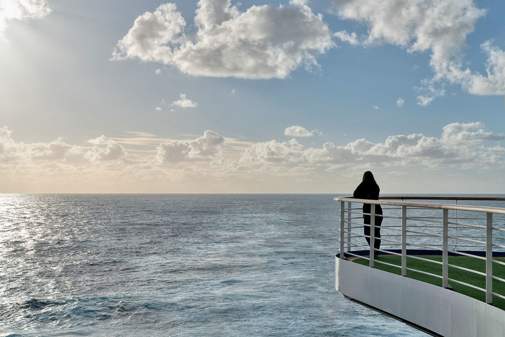 Thaneeya McArdle on the Golden Princess Cruise from Melbourne to New Zealand, crossing the Tasman Sea