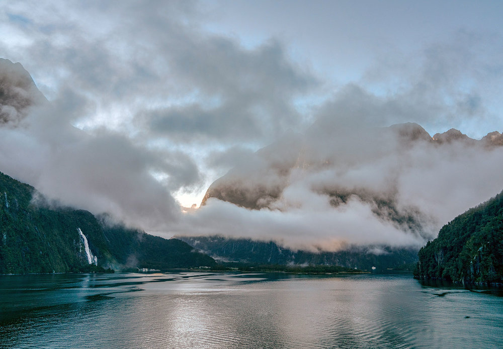 Low clouds at Milford Sound, Fiordland National Park in New Zealand