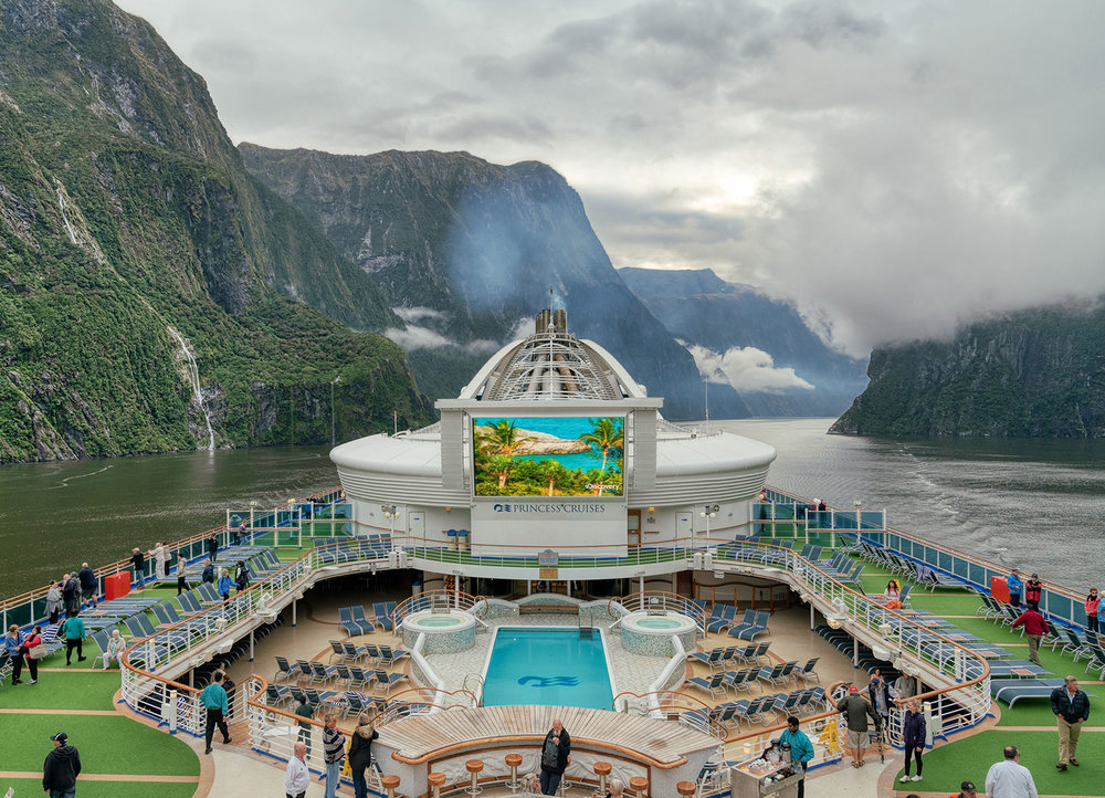 The Golden Princess at Milford Sound, Fiordland National Park in New Zealand