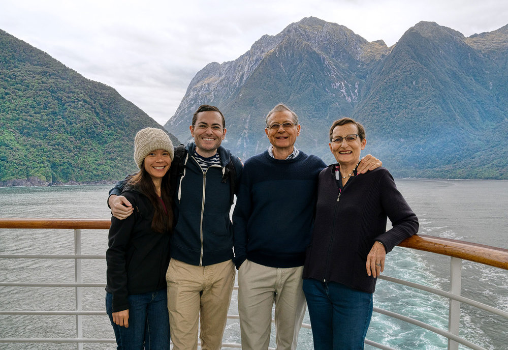 Thaneeya McArdle and family at Milford Sound, Fiordland National Park in New Zealand