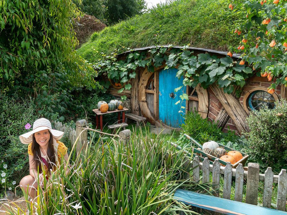 Thaneeya McArdle at Hobbiton in Matamata, New Zealand