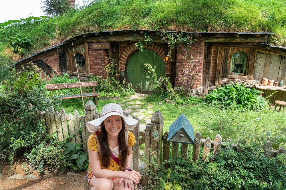 Thaneeya McArdle exploring Hobbiton in Matamata, New Zealand