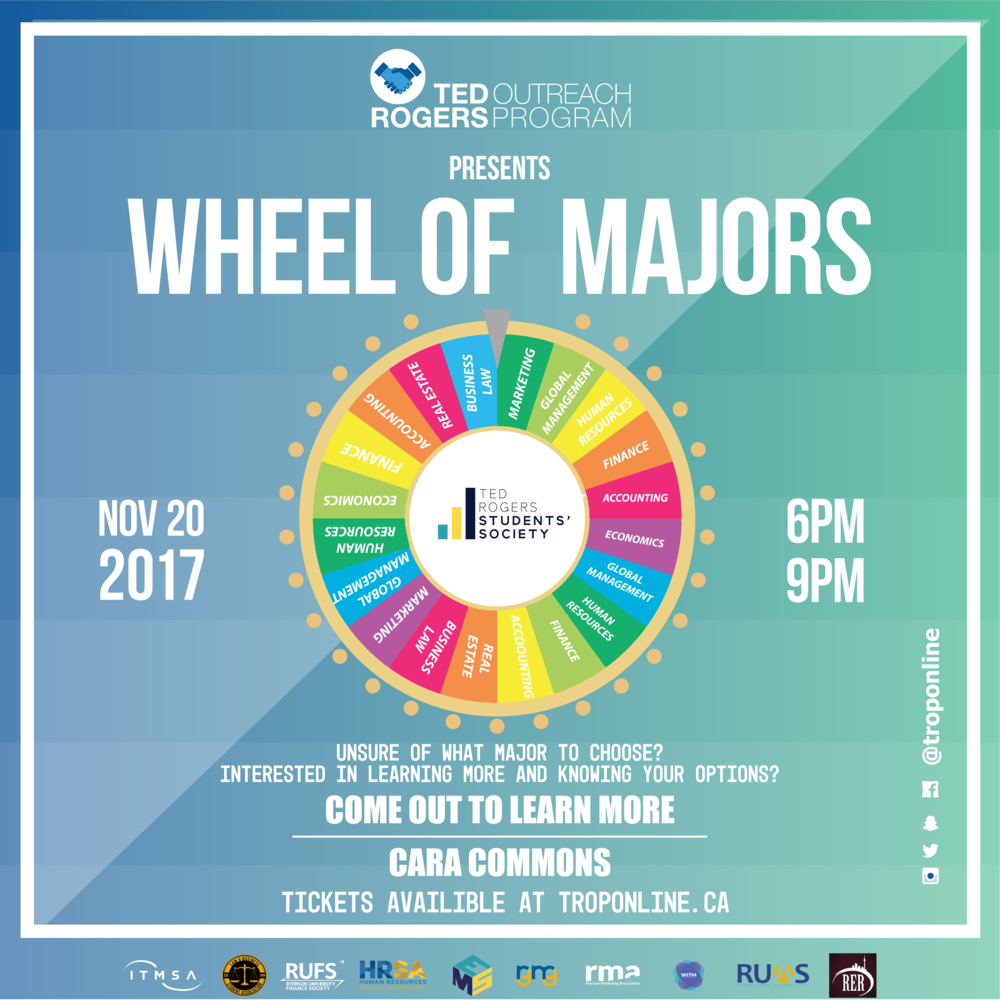 - The Ted Rogers Outreach Program would like to present the WHEEL OF MAJORS!If you're a first or second year TRSM student and unsure of your options, then come out to hear students from various business backgrounds talk about your choices, courses, and career aspects of each particular major.Join us for an incredible night of learning and networking!GET YOUR TICKETS HERE!