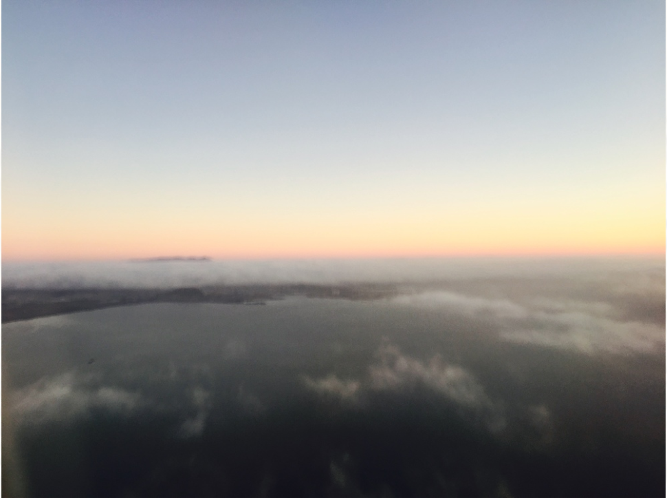 San Francisco, CA, USA. Over the Bay with the fog rolling in