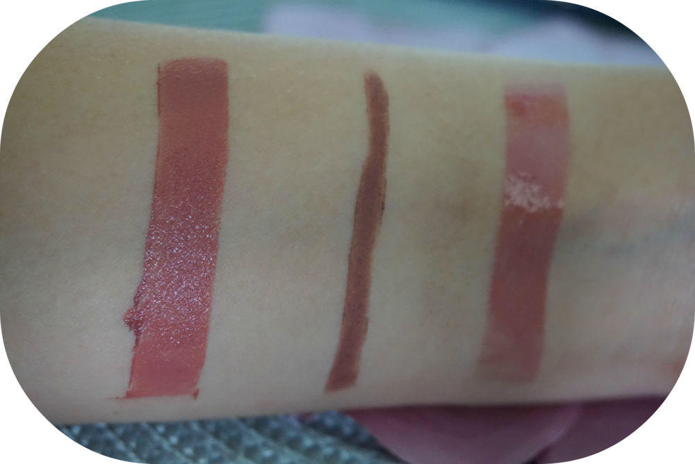 L to R: Nudus Lipstick in '27 Kisses', Jane Iredale Lipliner in 'Nutmeg', FitGlow Beauty Good                                                                                                Gloss in 'Nudie'