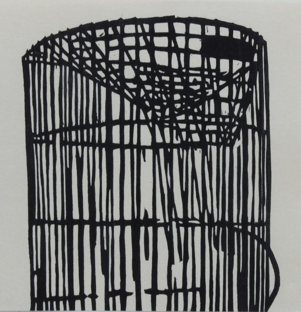 Trap II , woodblock, 8 x 8 inches
