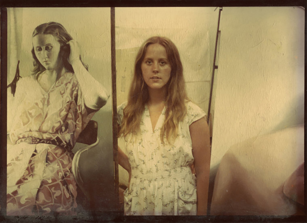 Susan with self portrait as an undergrad art student at the University of Illinois - wearing vintage even in 1974.