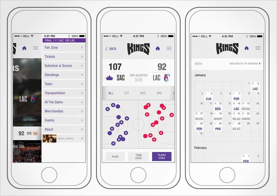 Sacramento Kings IOS App Visual Design Direction. My Role: Visual Design & Art Direction using existing brand guidelines as a base.