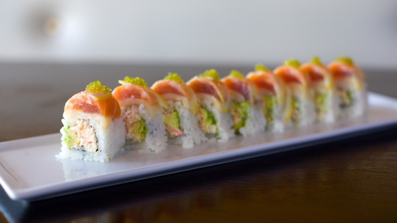 Triple Sec – $16.95  Spicy Crab Salad, Avocado w/ (Tuna, Salmon, Butter Fish) on top, Lemon slices & Black Tobiko