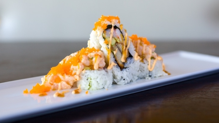 Cold Mountain – $11.95  Ebi, Unagi, Avocado topped w/ Scallop Salad, Masago Spicy Mayo & Unagi Sauce