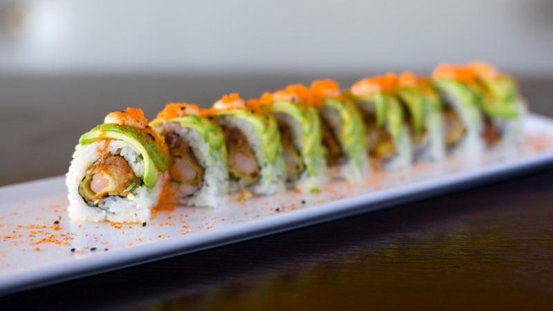 9-1-1 – $11.95  Tempura Shrimp, spicy tuna, Jalapeno, topped w/ Avocado, Special Spicy Sauce, Masago & Spicy Mayo