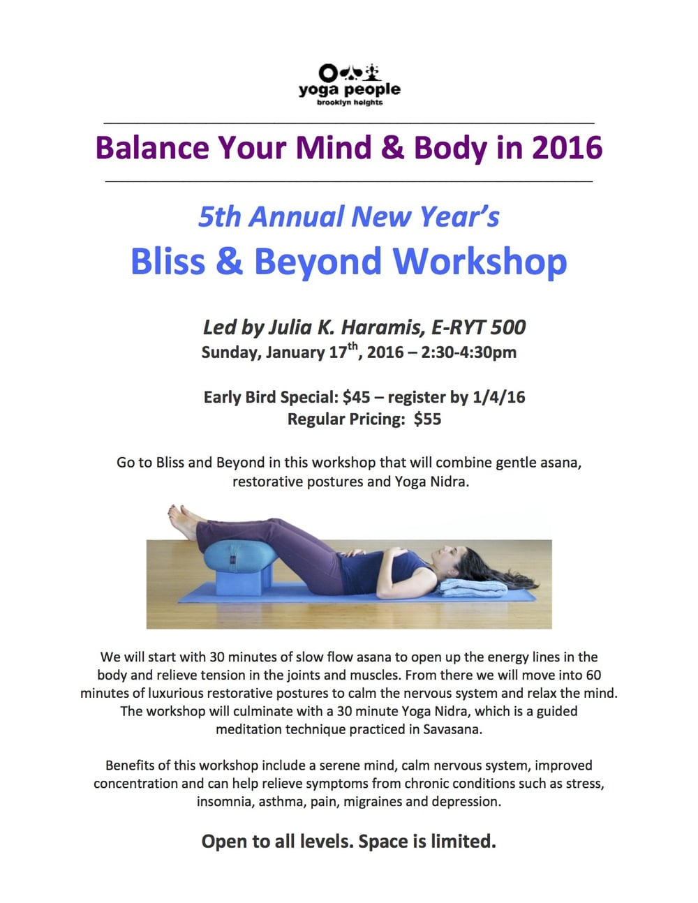 Bliss and Beyond Workshop Flyer