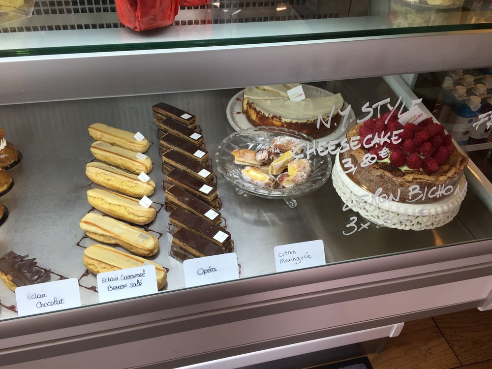 Eclairs and other treats at Canal Saint Martin location.