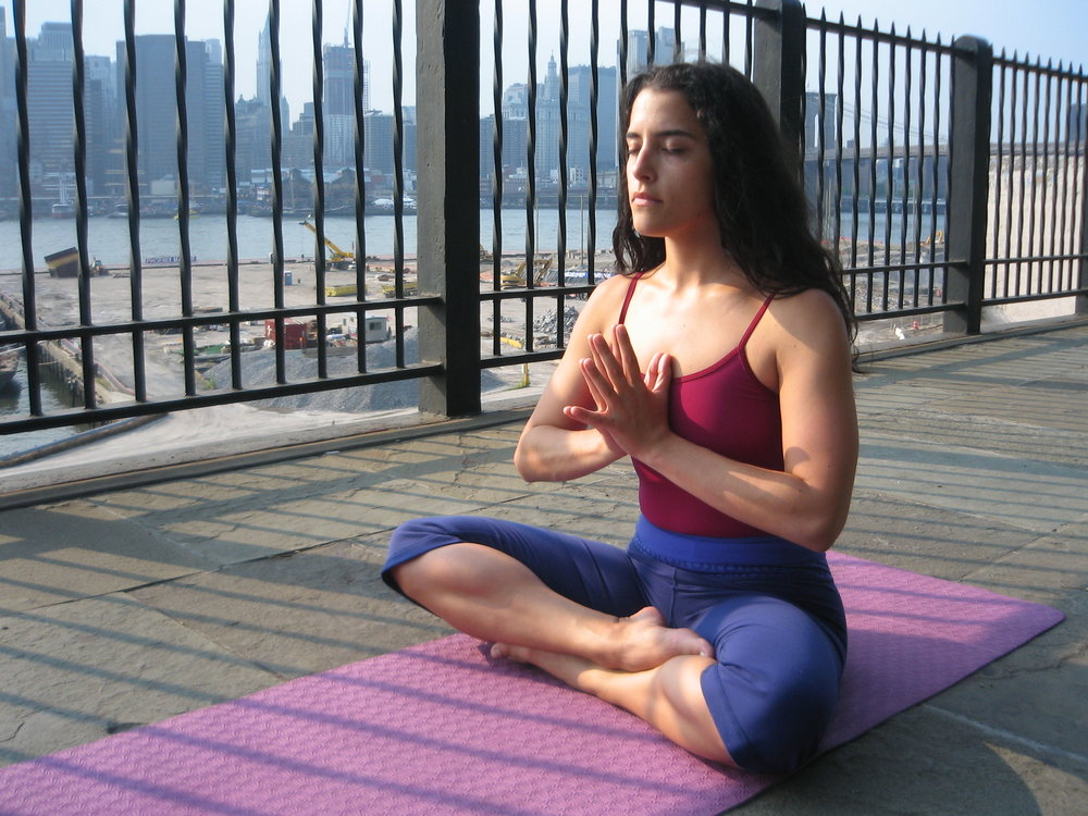 Julia Seated Namaste on BK Promenade