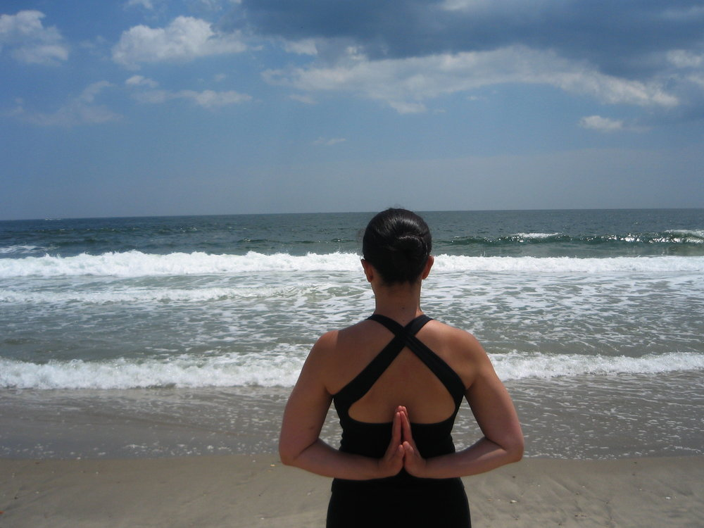 Julia NJ Beach Reverse Namaste