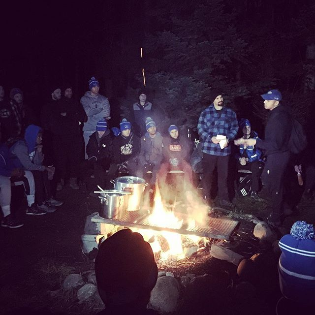 Fire side chats. 6:00am outside. 60+ young men from @ubctbirds Football team. Talking connection, brotherhood, service, leadership. Life doesn't get better than this. #adventurewithin