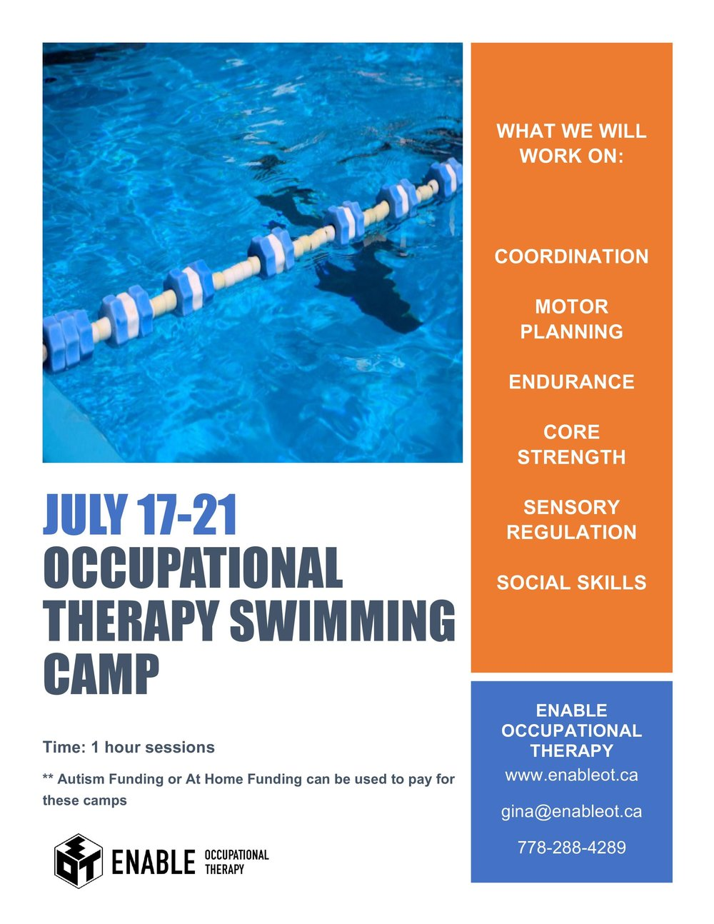 occupational therapy swim flyer summer 2017