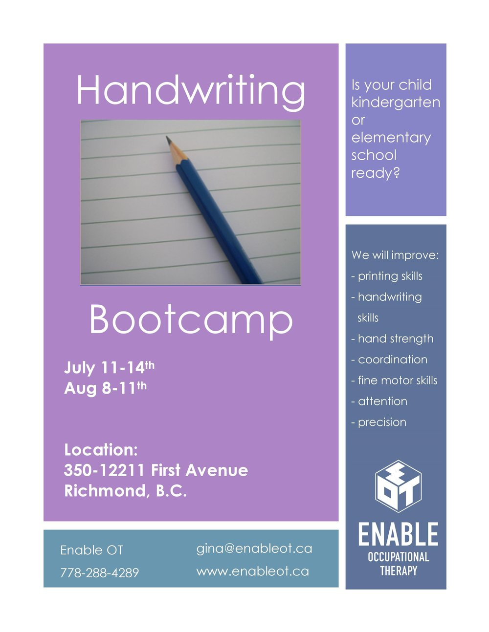 handwriting bootcamp flyer 2017