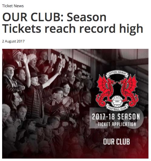 Leyton Orient season tickets hit a 16-year high despite  relegation