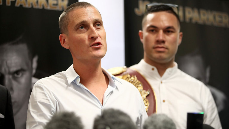 David Higgins, left, with Joseph Parker