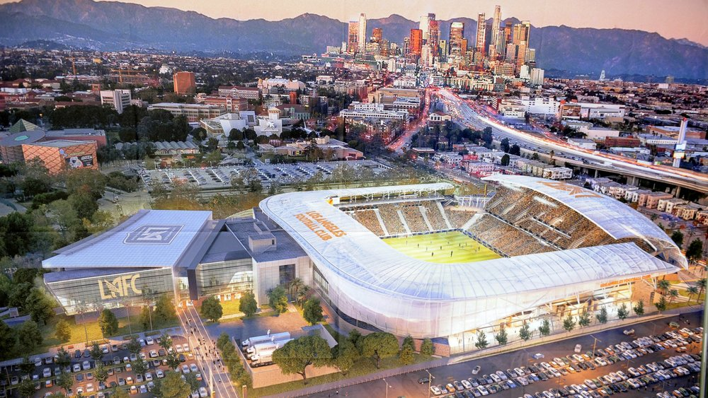 Artist's impression of LAFC's stadium. see The Keyhole through the gap in the far corner