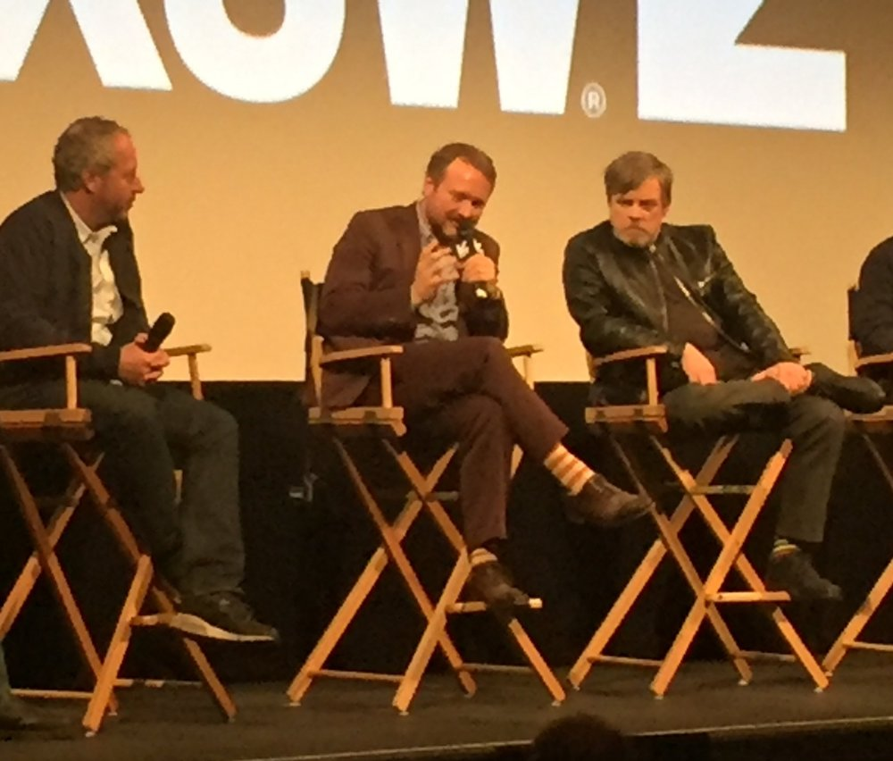 Rian Johnson, centre, and Mark Hamill in the Q&A