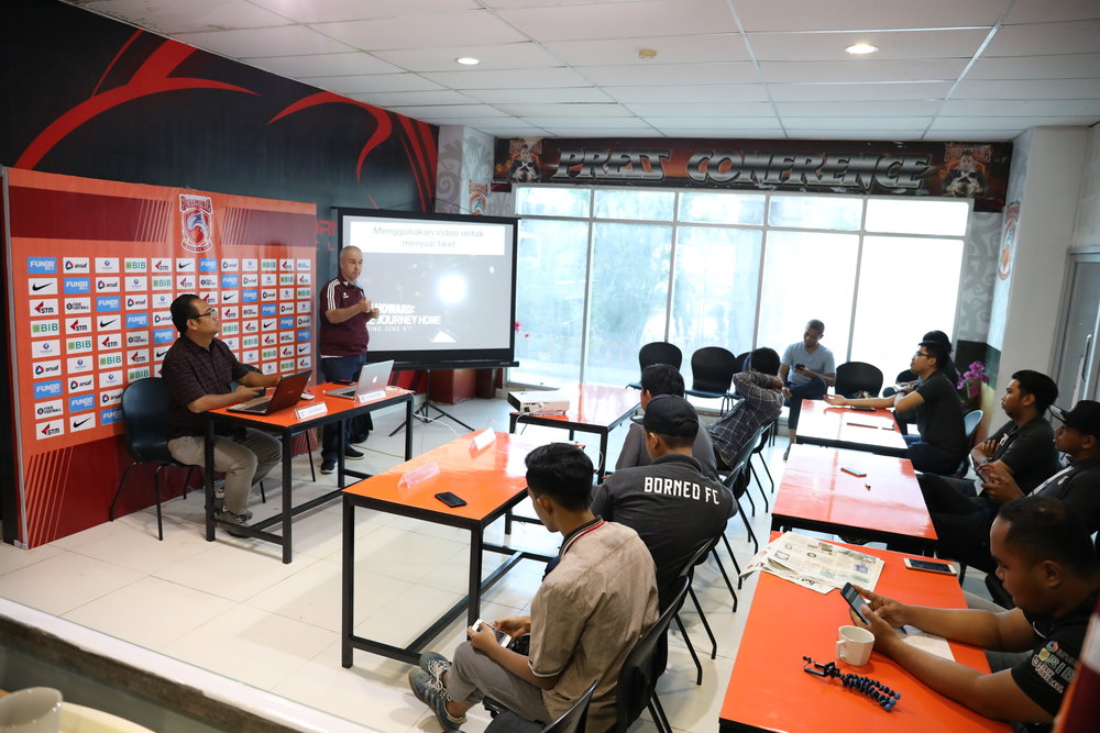 Delivering my session to the digital, social media and marketing team of Borneo FC