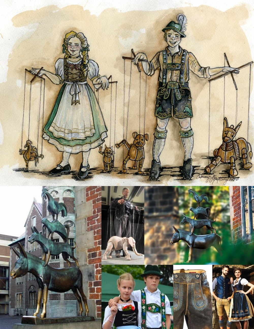 Art project three: Rendering (top) inspired by   The Town Musicians of Bremen  statue by Gerhard Marcks  in Bremen, Germany. Researh (bottom right).  To see the rendering enlarged click here .