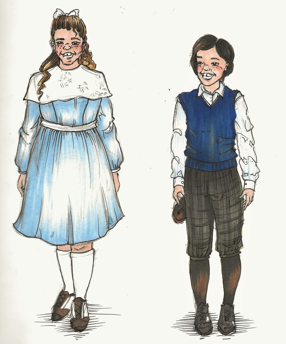 Jane and Michael Banks Costume rendering for act:1