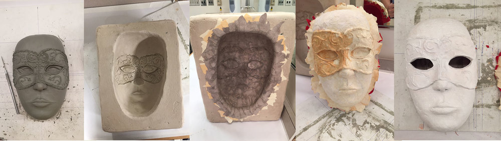 Paper mache mask making process part 1. Carving of clay, making a mold, lining with cotton paper, priming.
