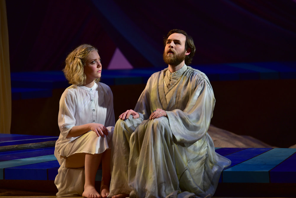 Matthew Murry as Prospero and Erin Logan as Miranda.