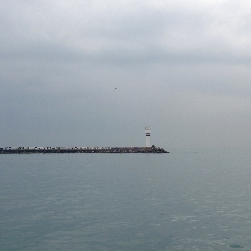 Lighthouse on the Asian side on a foggy day.