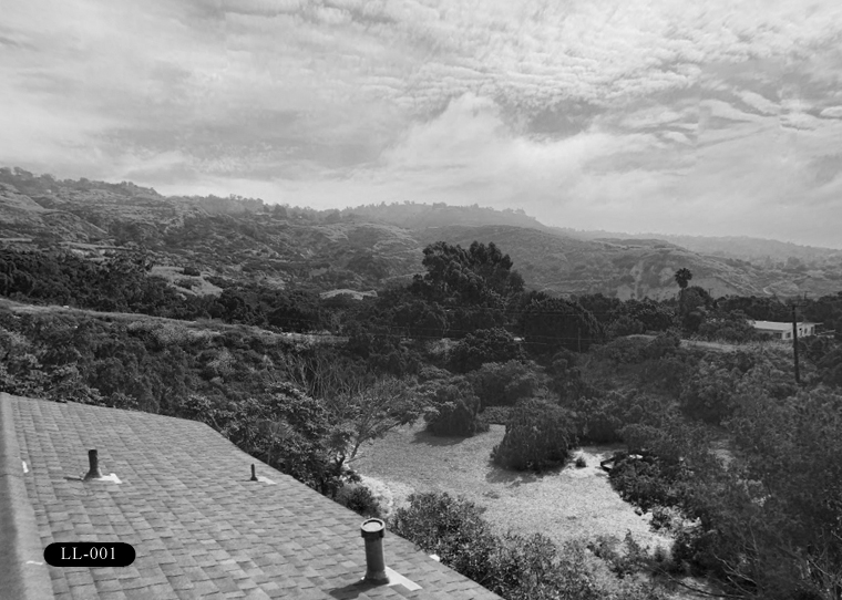 LL-001: View from a private residence located at the corner of Limetree Lane and Peppertree Drive, 26 Peppertree Dr, Rancho Palos Verdes, CA 90275.