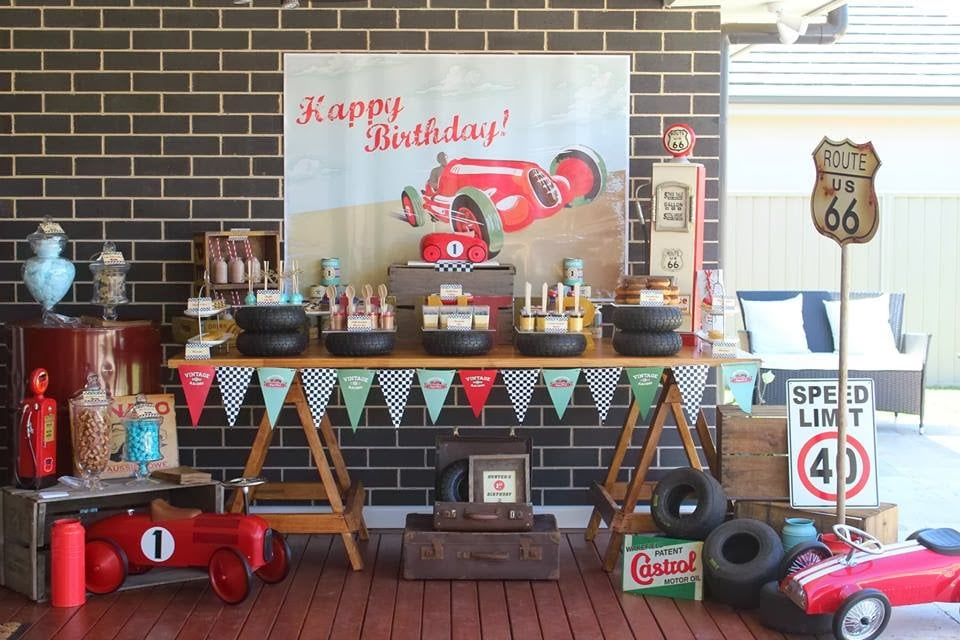 Vintage car party table