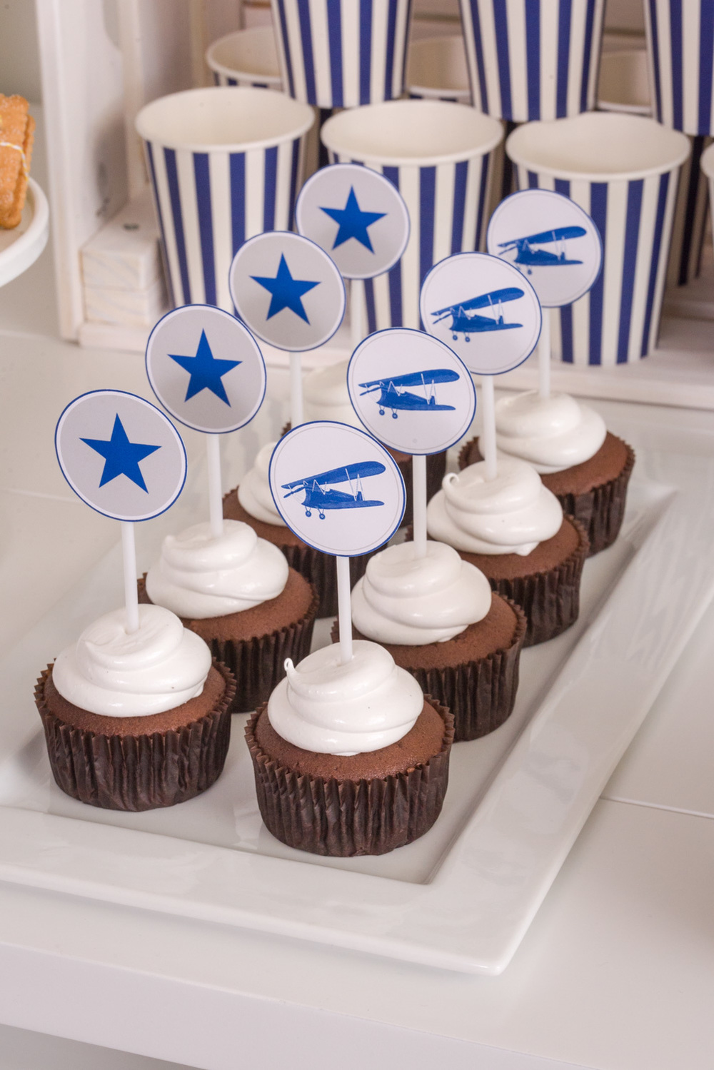 Vintage aeroplane cloud cupcakes by Something Wonderful Happened