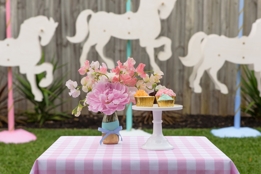 Carousel horsed for country fair kids party by Something Wonderful Happened